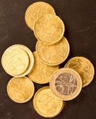 Euro coins on dirty dark background — Stock Photo