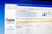 Yandex.ru homepage, popular search engine in Russia — Stock Photo