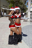 Two preety female Santa Claus offering drinks — Stock Photo