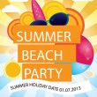 Summer beach party vector poster — Stock Vector