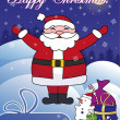 Happy Christmas postcard with Santa — Imagen vectorial
