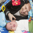 Newborn baby and father — Stock Photo