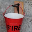 Stock Photo: Red Metal Fire Bucket.