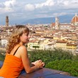 Beautiful woman in Florence - Stock Photo