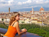 Beautiful woman in Florence — Stock Photo
