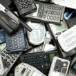 Scatered mobile phones ready for recycle — Stock Photo