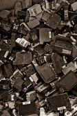 Ink cartridges background color processed sepia — Stock Photo