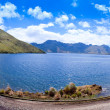 Lake panorama with clouds and mountains — Stock Photo