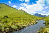Mountain, river with blue sky and clouds — Stock Photo