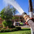 Fireman using water hose to prevent fire — Stock Photo