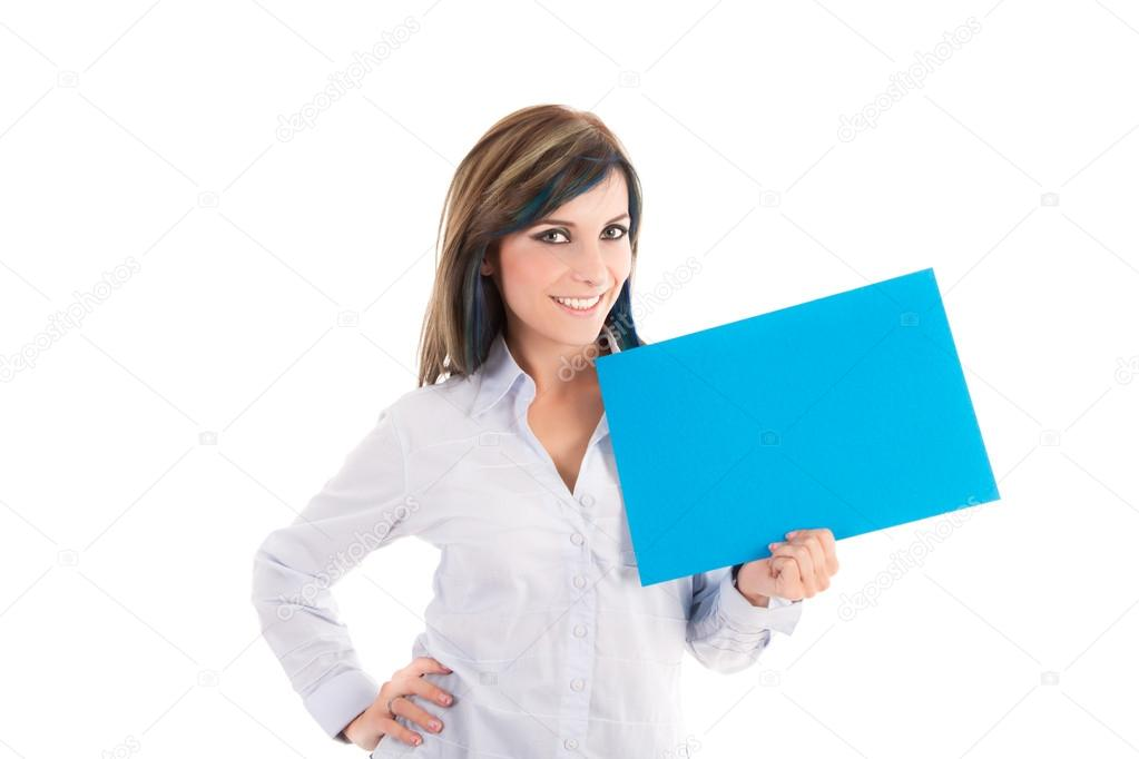 Portrait of a lovely young female holding a sign against a  white background — Stock Photo #12715926