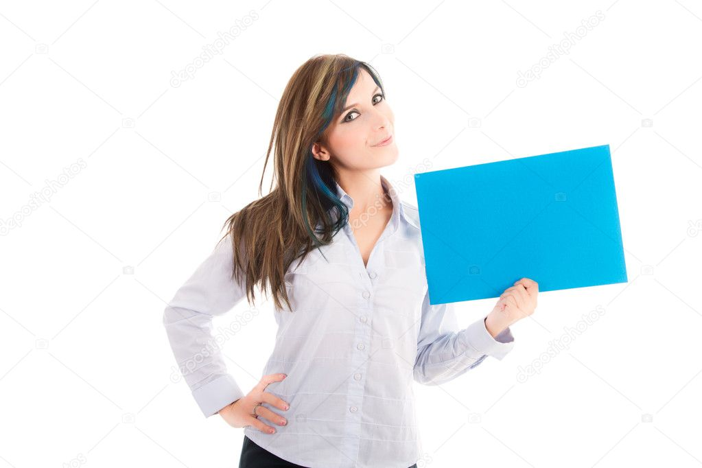 Portrait of an attractive smiling woman with blank board against white background — Stock Photo #12715936