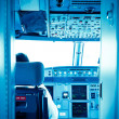 commercial airplane interior cockpit color processed blue — Stock Photo #13126389