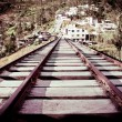 Stock Photo: Old wooden Railway color processed