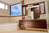 Interior of bathroom in modern house, hot tub — Stock Photo