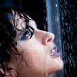 Girl in the shower with water drops set — Stock Photo