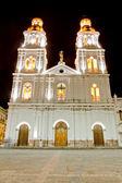 Night shot of a church of Cuenca, Ecuador — Stock Photo