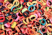 Pile of colorful tagua rings at otavalo market — Stock Photo