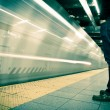 Stock Photo: New York subway, long exposure, color processed