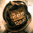 Stock Photo: Firefighters memorial helmet NY UScolor toned
