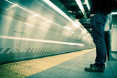 New York subway, long exposure, color processed — Foto de Stock
