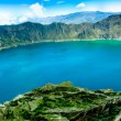 Stock Photo: Volcano crater lake panorama, Quilotoa, Ecuador