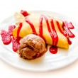 Royalty-Free Stock Photo: Strawberry Banana Crepe with Chocolate syrup