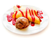 Strawberry Banana Crepe with Chocolate syrup — Stock Photo