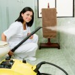 Young woman steam cleaning the bathroom - Stock Photo