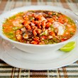 Stock Photo: Ecuador food: shrimp and fish ceviche, raw fish