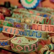 Wristbands in an Ecuador market - Stock Photo