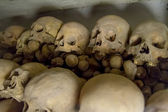 Real human skulls in a cathedral in Lima Peru — Stock Photo