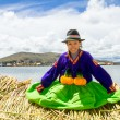 Постер, плакат: Sitting girl on a floating Uros island Titicaca