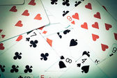 Large collection of used playing cards, closeup — Stock Photo