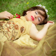 SLEEPING BEAUTY lying on the forrest with a rose — Stock Photo #23512753