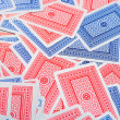Red and blue generic  playing cards back side - Stock Photo