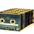 Stock Photo: Row of audio tapes COLOR PROCESSED POP