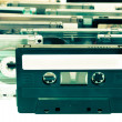 Bunch of audio tapes color proccessed - Stock Photo