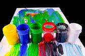 краска горшки в разных цветов — Стоковое фото