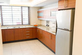 Empty kitchen in newly restored rebuilt house — Stock Photo