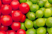 Two colors of fresh fruits and vegetables set — Stock Photo