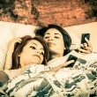 Romantic lesbian couple color toned — Stock Photo