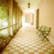 Outside corridor at an spanish hacienda in Ecuador - Stock Photo