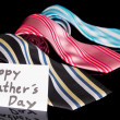 Happy Fathers Day tag with neckties — Stock Photo