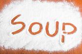 Soppa tecken, mjöl artwor — Stockfoto
