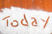 Today sign, Flour Artwor — Stock Photo