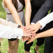 High view of team with their hands together — Stock Photo #26748313