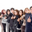 Group of hispanic business with thumbs up — Stock Photo
