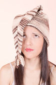 Beautiful Girl in Knitted Peruvian Hat — Stock Photo