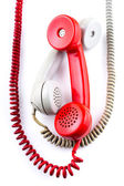 Old-fashioned telephone receivers with cord — Stock Photo